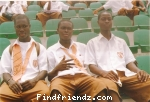 Elisha with friends at the Babanyara sports stadium in ghana during the inter school and colleges at